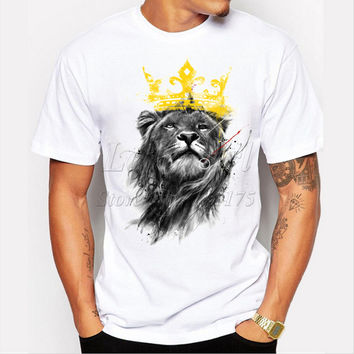 New fashion king of lion pencil sketch design retro animal printed men t-shirt short sleeve funny tee Hipster popular tops