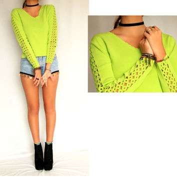Vintage Neon Lime Scalloped Green Club Kid Cut Out Raver Shirt 90s