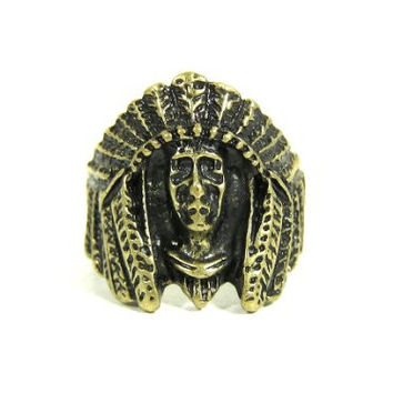 Indian Chief Ring Size 6 Native American Warrior RG14 Vintage Mayan Aztec Cocktail Fashion Jewelry
