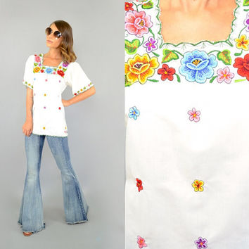 70's White EMBROIDERED Mexican Tunic Blouse