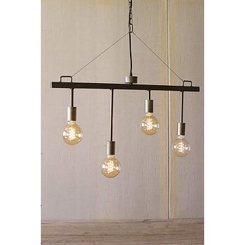 Industrial Style Raw Metal and Brass Pendant with Four Light Sockets -- 30-in