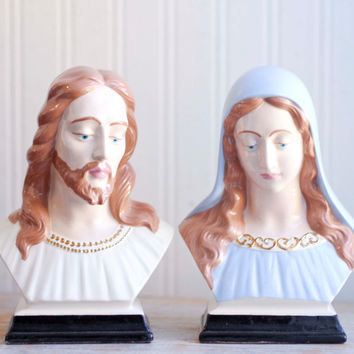Vintage Jesus and Mary Statues - 1950s Religious Art Decor