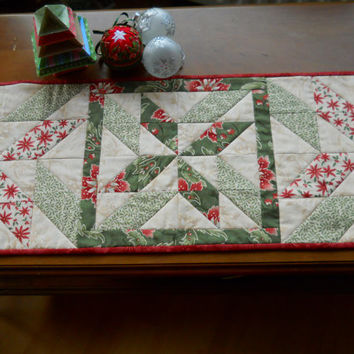 Patchwork Tablerunner, Handmade Table Topper, Beautiful for Spring . Gentle Colours .