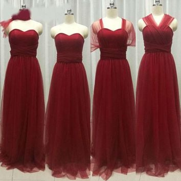 Tulle Burgundy Convertible Bridesmaid Dress for Wedding