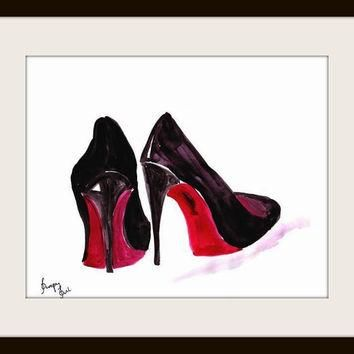 Christian Louboutin Shoes Printable Wall Art Decor Watercol