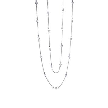 Lafonn Classic Sterling Silver Platinum Plated Lassire Simulated Diamond Necklace (6 CTTW)