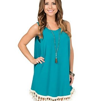 Judith March Turquoise with Cream Tassels Sleeveless Dress