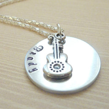 Violin necklace violin teacher Necklace music Personalized Hand stamped jewelry