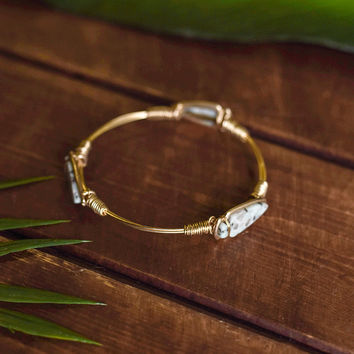 After The Rain Multi Natural Stone Wire Detail Bracelet (Gold/Light Blue)