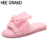 HEE GRAND Woman Fur Cotton Slippers Living Room Women Indoor Bowtie Shoes Rabbit Ear Shape Warm Keep Floor Shoes Big Size XWM147