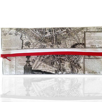 Paris Fold over clutch, women hand bag, zipper pouch, printed with the map of ancient Paris, gift idea