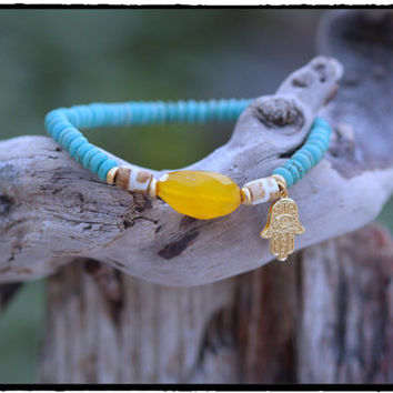 Faceted Yellow Chalcedony, African Bone, Turquoise and 22K Gold Vermeil Hamsa  Stretch Bracelet, Tribal Boho Yoga Chic, Sea and Sky Tone