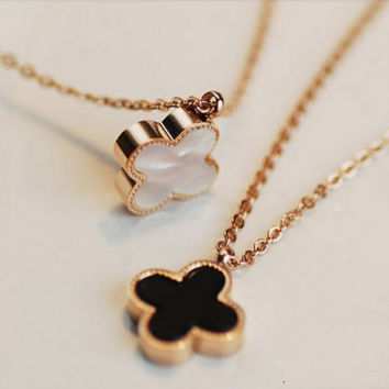 Limited Edition Reversible Black or White Clover on Gold Necklace