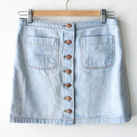 Button Front Light Denim Skirt