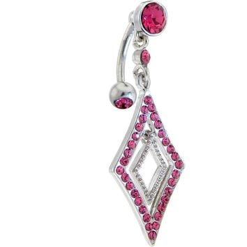 Pink Gem Sultry Top Mount Chandelier Belly Ring