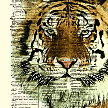 Tiger Dictionary Art Print, Tiger Art, Dictionary Page, Wall Decor, Kids Art