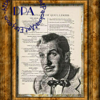 Famous Gothic Horror Actor Vincent Price Drawing Art - Vintage Dictionary Page Art Print Upcycled Page Print, The Fly Actor