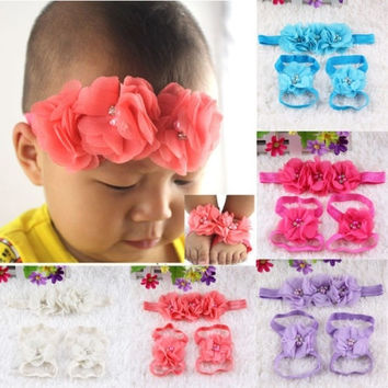 Fashion Baby Girl Infant Chiffon Foot Flower Hairband Headband Barefoot Sandals Set Gift = 1651102916