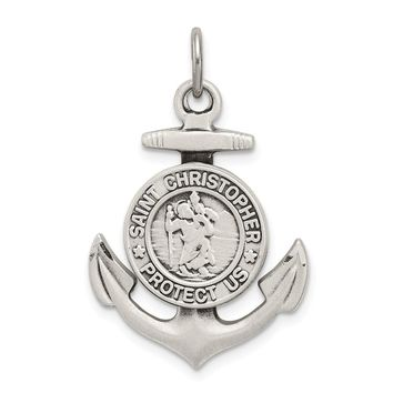 925 Sterling Silver Antiqued Satin St Christopher Anchor Shaped Medal Pendant