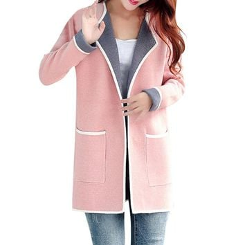Long Sweaters 2018 Women New Autumn All-match Patchwork Full sleeve Slim Pocket Knitted Cardigan Sweater M-XXXL
