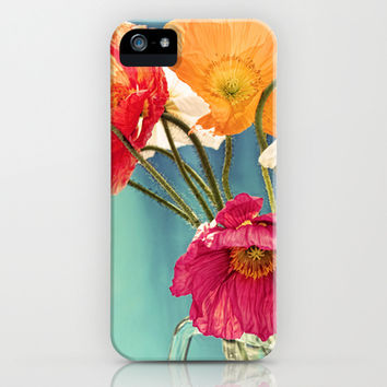 Bright Dancers - Vintage toned poppy flower still life iPhone & iPod Case by micklyn