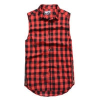 Plaid Flannel Side Zipper Extended Sleeveless Shirt