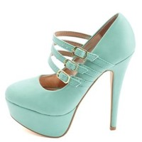 Triple Mary Jane Platform Pumps by Charlotte Russe - Mint