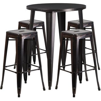 30'' Round Black-Antique Gold Metal Indoor-Outdoor Bar Table Set with 4 Square Seat Backless Stools [CH-51090BH-4-30SQST-BQ-GG]