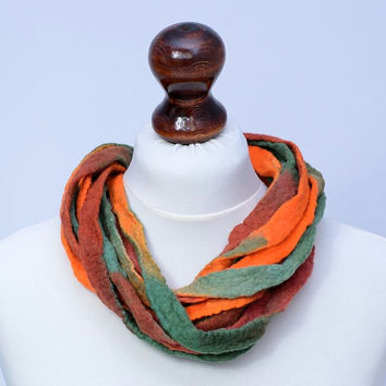Russet, green & orange multistrand necklace made of twisted felt ribbons - twist, multi strand, fiber, wool, ribbon jewelry [N100]