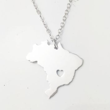 Fashion Style You Can Choose / Gold & Silver Color Brazil Map National Pendant Choker Necklaces for Brazilians Women jewelry
