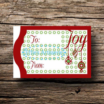 Holiday gift tags- Joy- ornaments and wreaths- Sheet of 14- digital print, instant download, printable gift tags