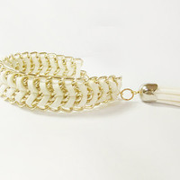 White Leather wrapped in gold tone chain bracelet - by Lynnlen