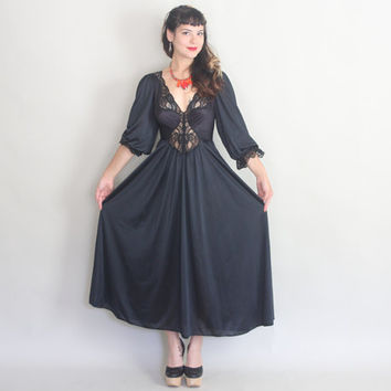 70s Black OLGA Nightgown | Vintage 1970s Gorgeous Maxi LACE & SATIN Lingerie | m