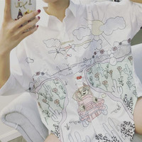 New spring and summer women loose white shirt embroidered long blouse cartoon graffiti fashion