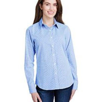 Artisan Collection by Reprime - Ladies' Microcheck Gingham Long-Sleeve Cotton Shirt