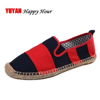 Canvas Shoes for Men Fashion Hemp Fisherman Shoes Classic Stripe Fashion Men's Canvas Shoes Male Brand Loafers Red Black K032