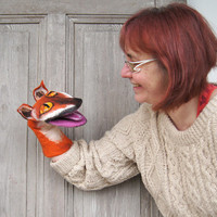 Hand puppet Fantastic Mr. Fox, Felted Toy, Muppet style Creative play, Nursery Toy, Eco-friendly, OOAK