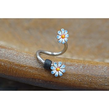 Daisy Flower Twist Belly Button Ring