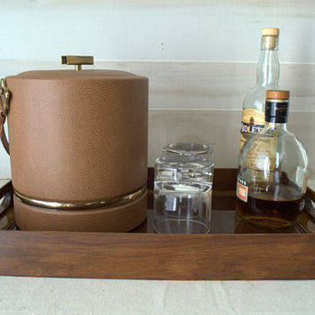 Mid Century Modern Teak Serving Tray, Large Rectangular Wooden Bar Tray, Wood Tray with Sides