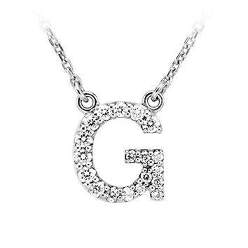 1/6 Cttw Diamond & 14k White Gold Block Initial Necklace, Letter G