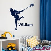 Wall Decal Lacrosse Helmet Personalized Custom Name Sport Player Kids Children Room Teens Kids Boys Girls Sticker Decor Art Gift Bedroom M1632