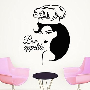 Wall Decals Bon Appetit Chef Woman Decal Vinyl Sticker Home Decor Interior Design Kitchen Cafe Restaurant Ms497