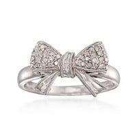 Ross-Simons - .11 ct. t.w. Diamond Bow Ring in Sterling Silver - #796338
