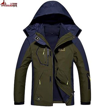 UNCO&BOROR Plus size M-6XL winter jacket men Women 2 in 1 parka jacket thicken warm windproof waterproof parka men hooded coat