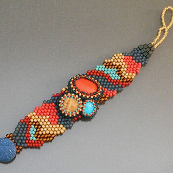 Free Form Peyote Stitch Beaded Bracelet Beaded Cuff Beaded Cabochon - Bead Weaving  - Life's Little Things
