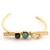 Three Gems Bangle Gold Bracelet
