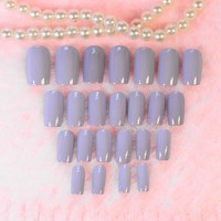 24PCS Light Pink Purple Taro Color False Nails Full Wrap Curve Press on Nail Art Tips Fake Nail Z225