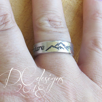 Mountain Ring, Nature Ring, Mountain Jewelry, Engraved Ring, Open Ring, Rings for Women, Rings for Men, Personalized Ring, Personalised Gift