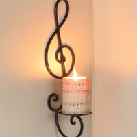 Musical Note Candle Wall Art Sconce Music Room Band Musician Home Decor New