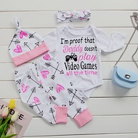 Daddy Doesn't Play Newborn Baby Girls Onsie + Long Pants + Hats + Headband 4pcs